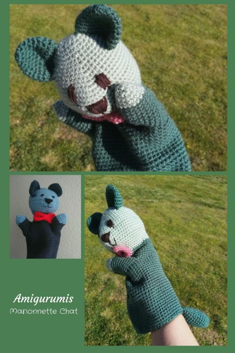 Pour remercier la maîtresse de tout le travail accompli, je lui ai crocheté un amigurumi très spécial : une marionnette chat
