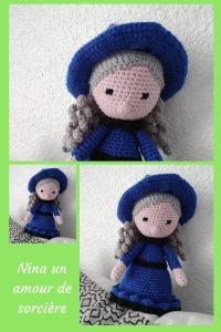 Aujourd'hui, je vous présente un amigurumi assez spéciale : la sorcière Nina. C'est une poupée créée par Amour Fou, sa spécialité !