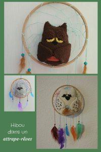 Pour Noël j'ai créé un superbe amigurumi pour ma mère : un hibou dans un attrape-rêves ! Il s'agit d'une création personnelle inspirée par un dessin