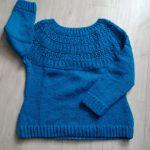 tricot pull turquoise raglan