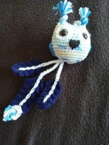 amigurumi hibou bleu