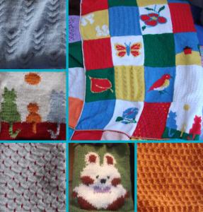 plaid progressif, torsades, jacquard, côte, tricot