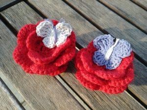 crochet roses et papillons