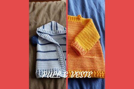 Pour mon neveu, j'ai réalisé deux cadeaux de naissance au crochet : un pull et une veste pour bébé. Deux modèles vraiment très simple à réaliser !