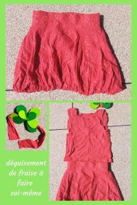 Découvrez, avec ce DIY, comment coudre vous-même un déguisement de fraise : une jupe boule, un T-shirt et un bandeau. Toutes les copines seront jalouses !