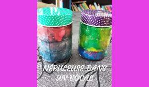 Aujourd'hui, découvrez comment occuper vos enfants avec ce DIY : une nébuleuse dans un bocal. une activité simple et efficace pour travailler les couleurs.