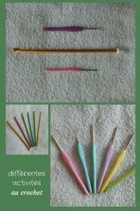 Aujourd'hui, je te fais découvrir différentes activités au crochet : la dentelle, le crochet tunisien et le crochet à la fourche.