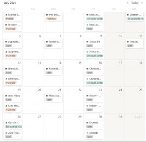 calendrier éditorial avec notion