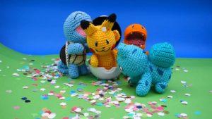 Pokémon au crochet : carapuce, salamèche, bulbizarre et Pikachu